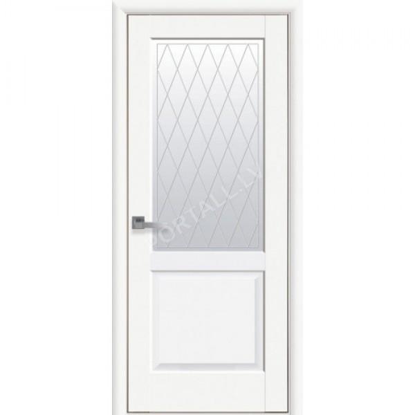 Durvis ar karbu EPIKA ar stiklu PP premium balts matēts