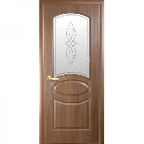 Durvis ar karbu FORTIS R  zelta alksnis  ar stiklu