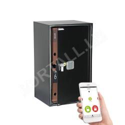Mēbeļu seifs dokumentiem YALE, ar elektronisku slēdzeni (augstums: 69,5 cm, platums: 43 cm).Ar atvēršanas paziņojumiem