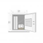 Mēbeļu, paaugstinātas drošības ugunsdrošs seifs YALE, ar elektrisku slēdzeni (augstums: 422 cm, platums: 35,2 cm)