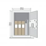 Dokumentu mēbeļu profesionāls, sertificēts seifs YALE, ar elektronisku slēdzeni (augstums: 52cm, platums 35 cm).Ar atvēršanas paziņojumiem