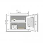 Mēbeļu, paaugstinātas drošības ugunsdrošs seifs YALE, ar elektrisku slēdzeni (augstums: 35,2cm, platums: 41,2cm)